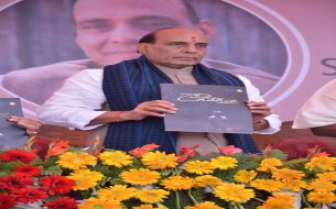 Sri Rajnath Singh, Minister of Home Affairs, unveils Akshaya Patra's Annual Report 2014-15