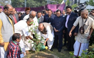 Sri Rajnath Singh, Minister of Home Affairs, participates in a tree planting ceremony at the Lucknow unit's premises.