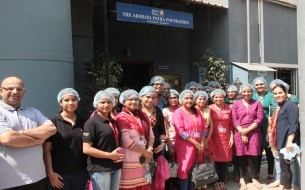 The group of 20 employees from SanDisk who visited The Akshaya Patra Foundation's V.K. Hill kitchen